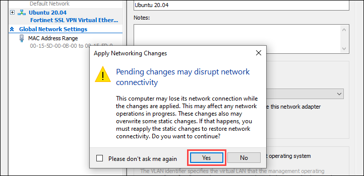Confirm the new network changes