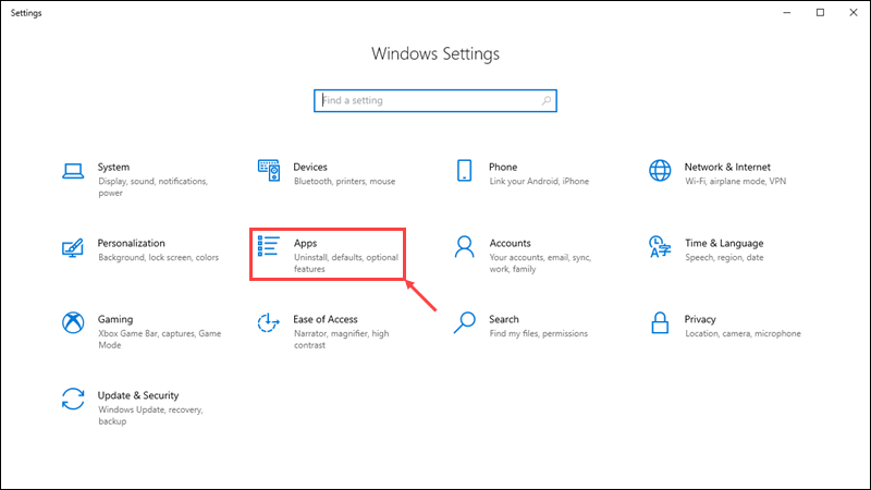 Open the application settings in the Control Panel