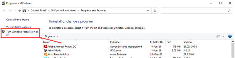 Click the Turn Windows features on or off link