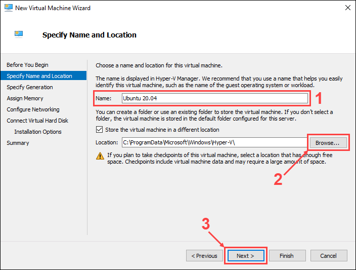 Set the name and location for the new virtual machine