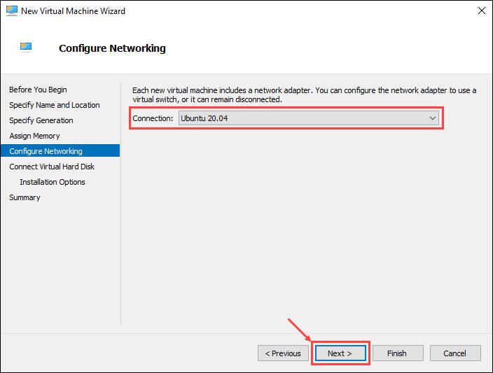Configure virtual machine network connection