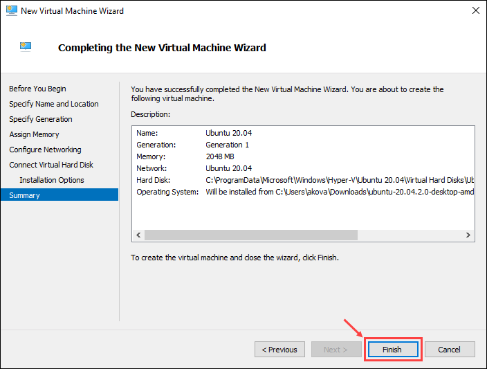 Click Finish to complete setting up the virtual machine, or Previous to edit any of the settings you made