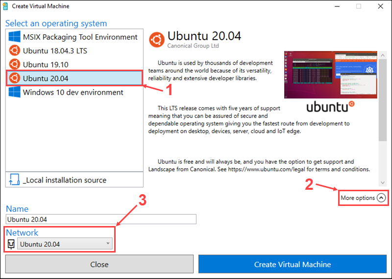 Select the OS to install on the new virtual machine
