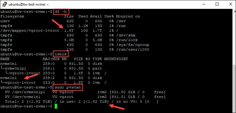 Checking the drives' status in Ubuntu.