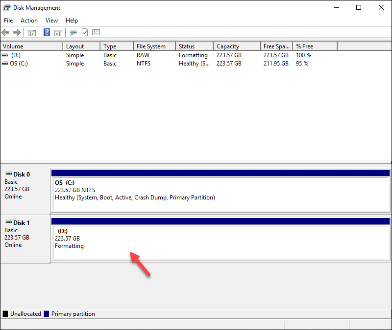 Windows Disk Management with volume created and formatting