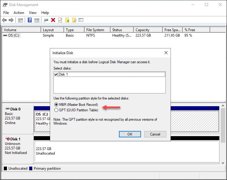 Windows Disk Management initialize disk