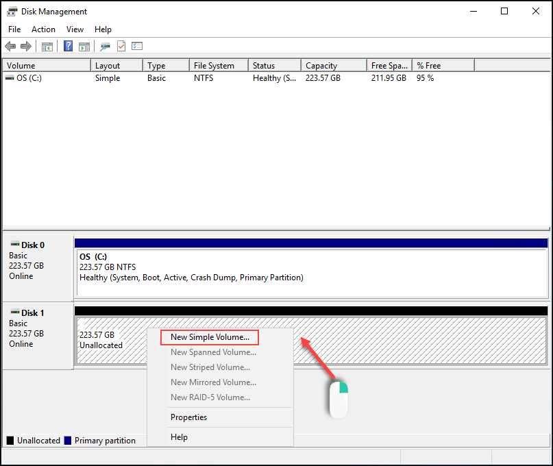 Windows Disk Management initialize disk add new simple volume