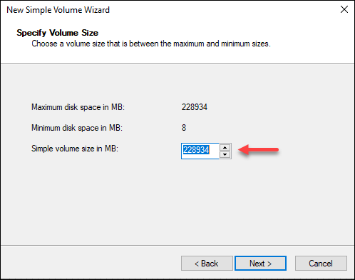 Windows Disk Management wizard volume size