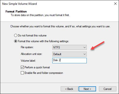 Windows Disk Management wizard format partition