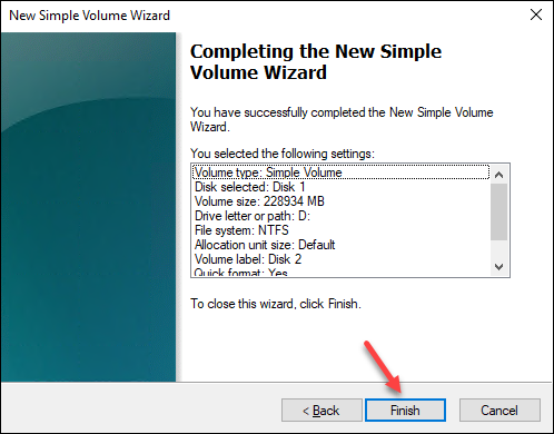 Windows Disk Management wizard review and finish