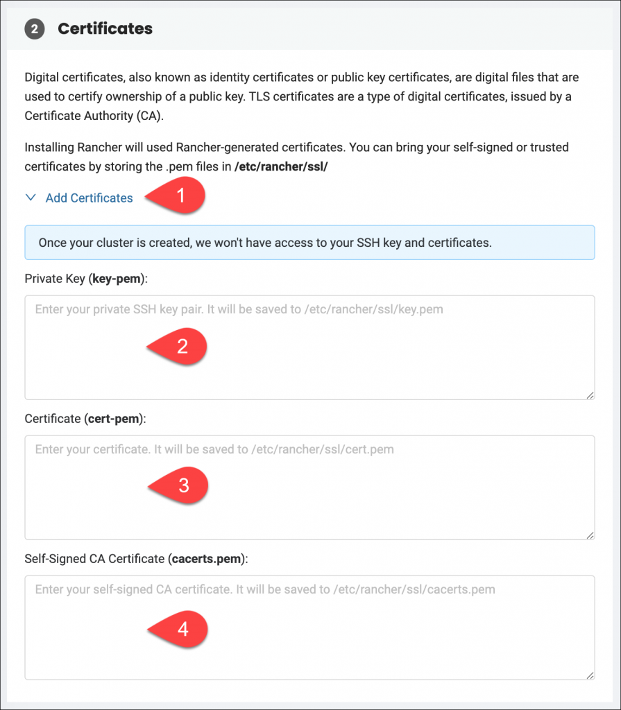 Advanced Configuration Settings - Certificates section