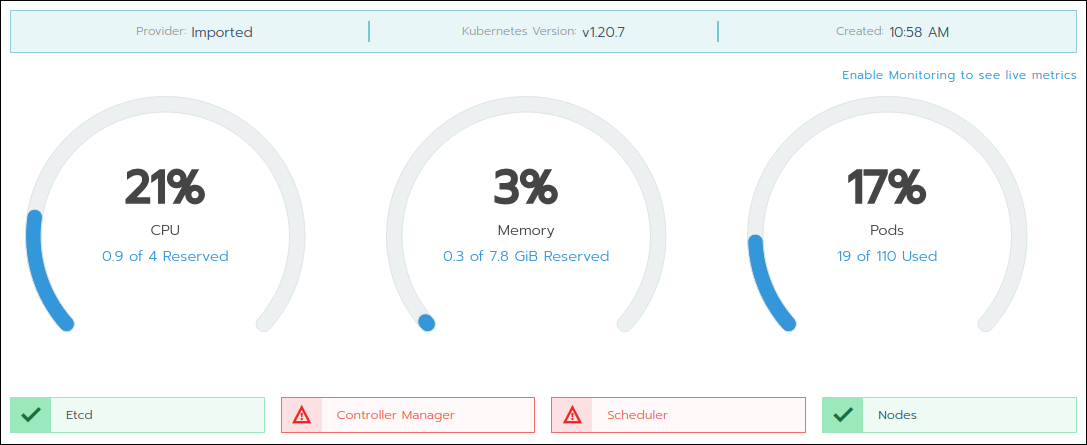 The classic cluster dashboard in Rancher