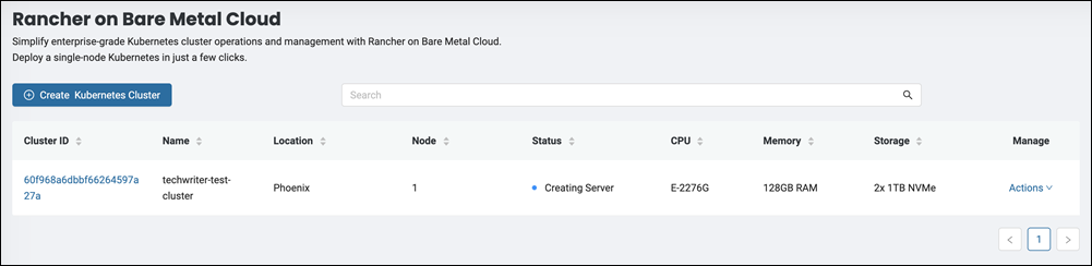 The cluster dashboard for Rancher on BMC