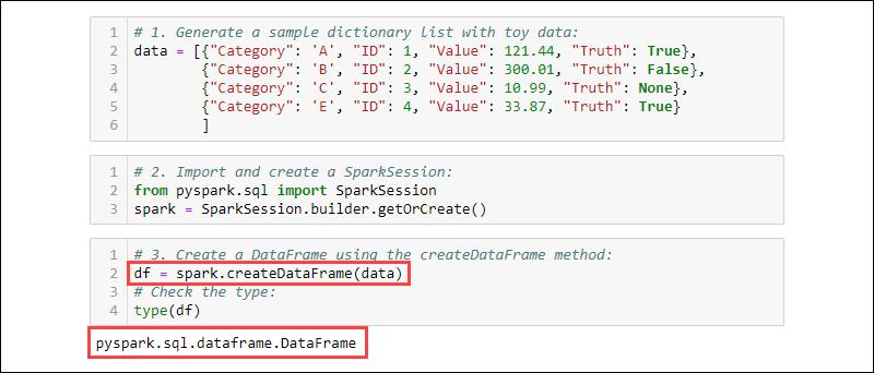 creating dataframe from list dictionary using createDataFrame
