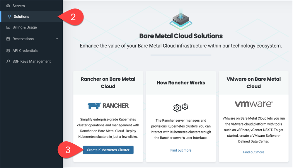 """Selecting the """"Create Kubernetes Cluster"""" option in the Solutions page"""
