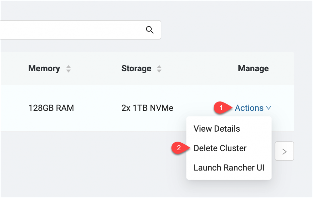 Deleting the cluster via the Actions menu
