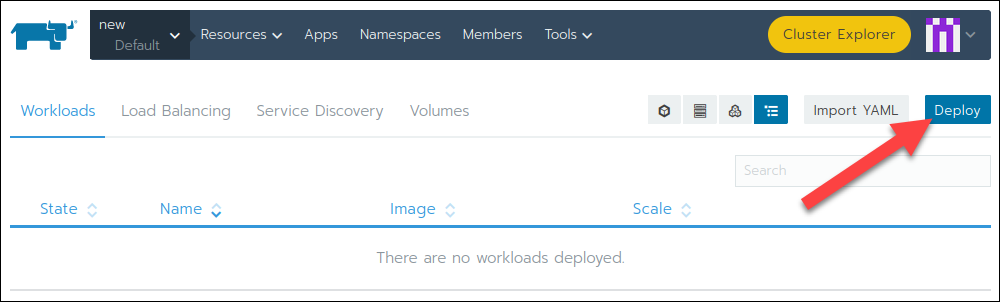Deploying a new workload in Rancher