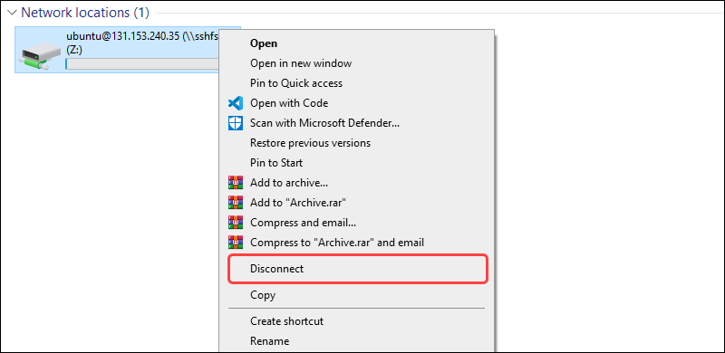 Disconnecting mounted device on Windows Explorer