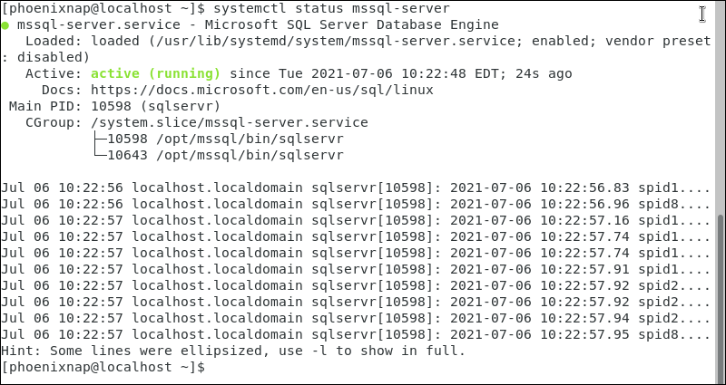 Checking the status of the mssql service in CentOS 7
