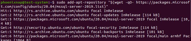 Adding repositories for SQL Server 2019