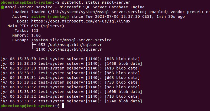 Checking the status of the mssql service