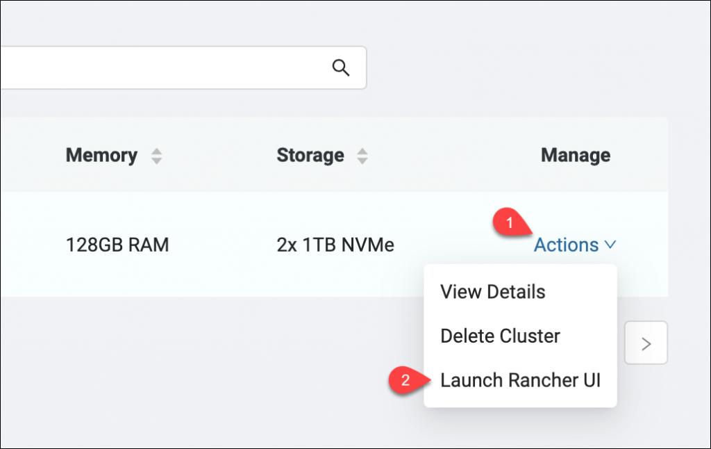 Launching Rancher UI via the Actions menu
