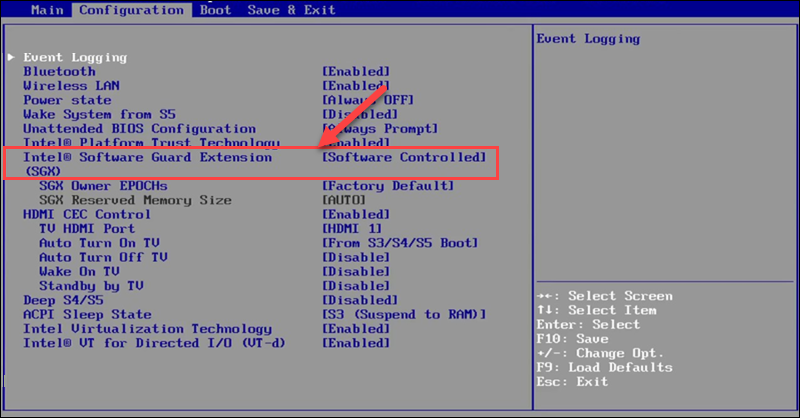 Legacy BIOS with the Intel SGX option in focus.