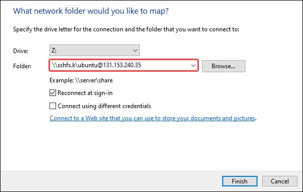 Mapping network folder using sshfs
