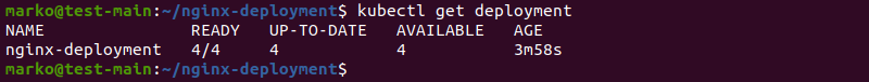 Confirmation message after creating the deployment.