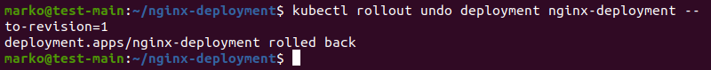 Output of rolling back changes after the kuberentes rolling updates