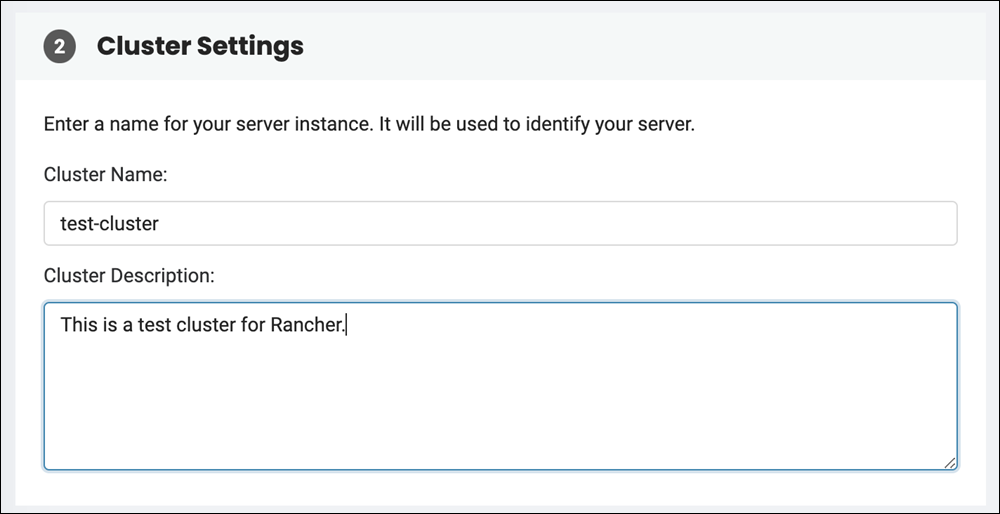Naming and describing the cluster on the Create a Cluster page