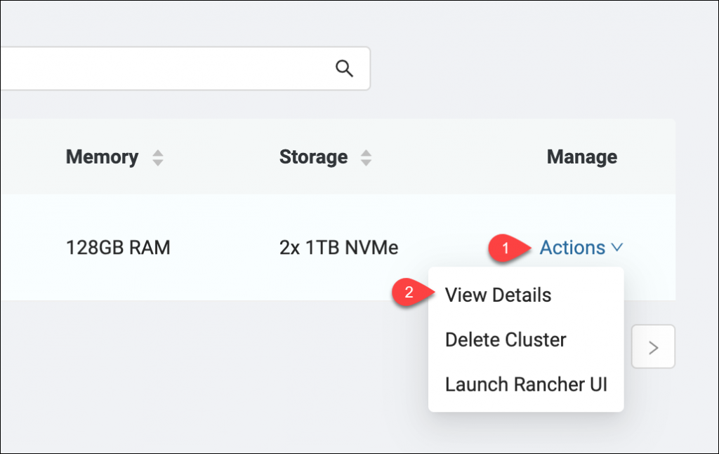 Viewing cluster details via the Actions menu of the cluster dashboard