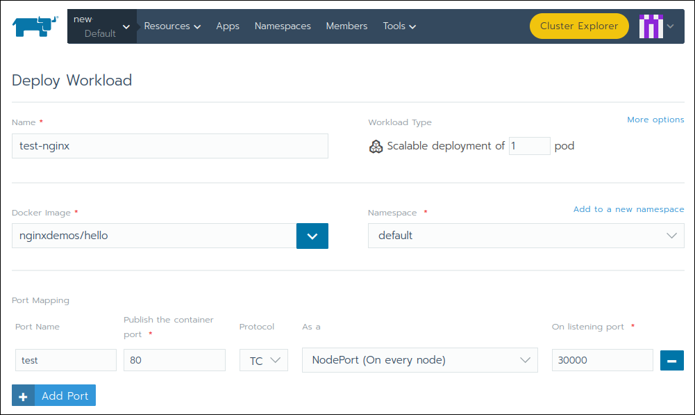The Deploy Workload page in Rancher