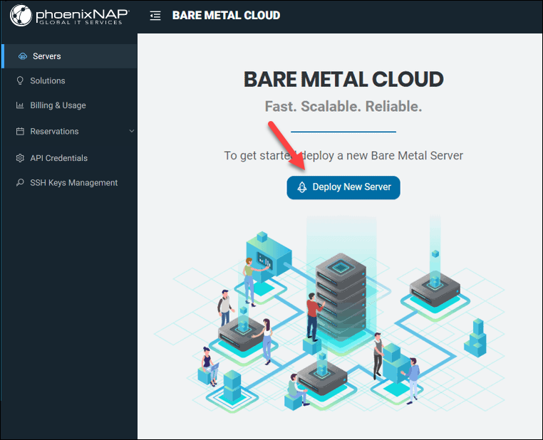BMC Portal start page and Deploy New Server button