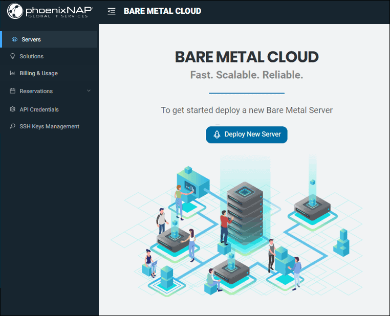 PNAP BMC Client Portal landing page.