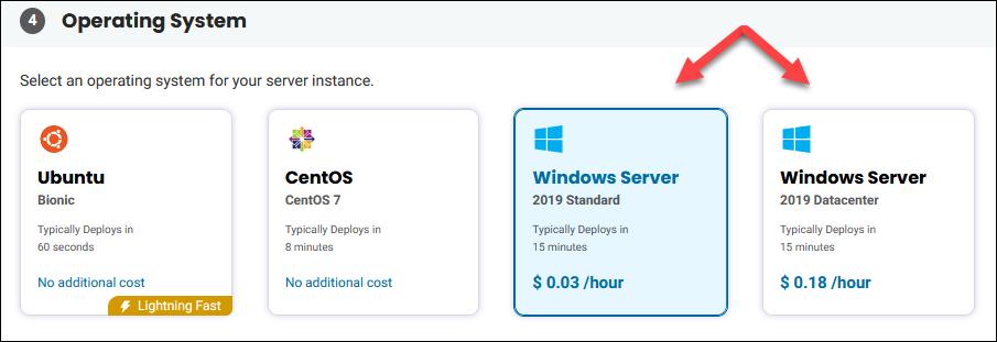 BMC Portal Windows OS selection