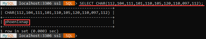 An example of the CHAR string function.