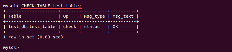 Output of the CHECK TABLE MySQL query
