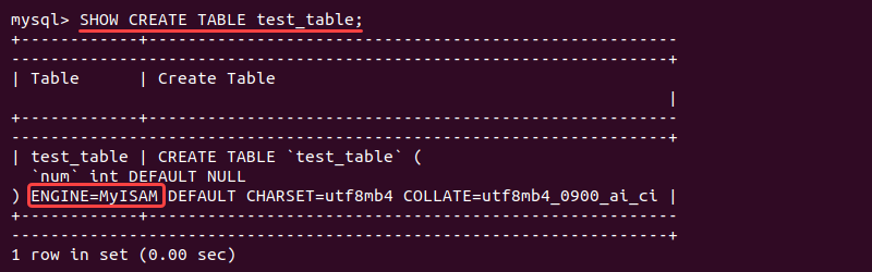 Checking database table engine using SHOW CREATE TABLE