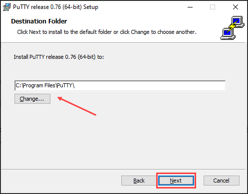 Choose the installation folder for PuTTY.