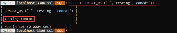 An example of the CONCAT_WS string function.