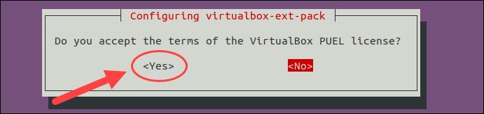 Configuring VirtualBox Extension Pack.