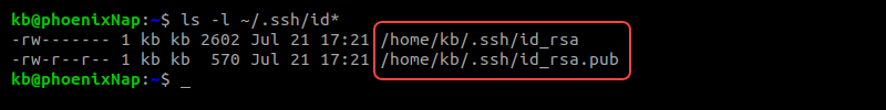 Listing contents of the .ssh folder