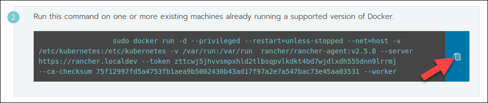 Copying the command to register worker nodes in Rancher.