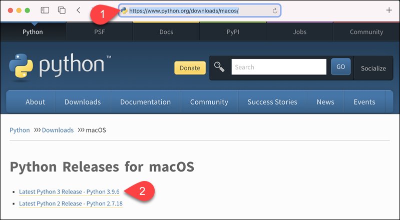 Downloading the Python installer for macOS from the official website