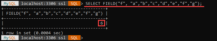 An example of the FIELD string function.