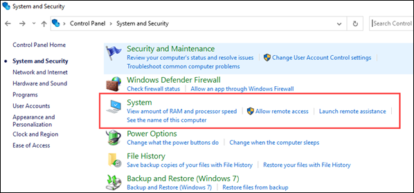 Navigate to System settings in Windows.