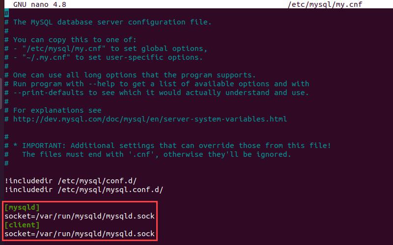 Edit the MySQL configuration file