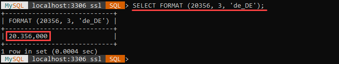 An example of the FORMAT string function.