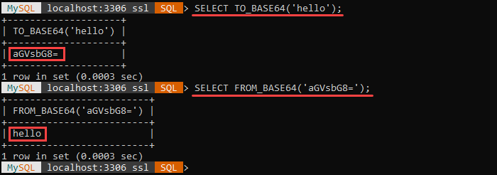 An example of the FROM_BASE64 and TO_BASE64 string functions.